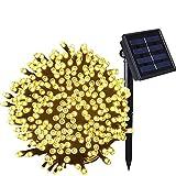 Guirnalda Luces Exterior Solares,Mobiut Cadena de Luz Solar 27 M/88ft 250 LED Luz Solar de Exterior Resistente Al Agua Luces de Hadas Estrelladas para Navidad, Fiestas, Patio,Jardines-Blanco cálido
