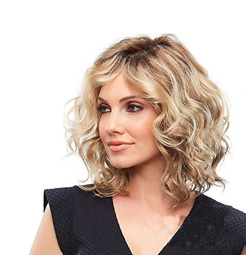 JIYCZK Perruques Bob Court Boucles Ondulées avec Ombre Blond Perruque pour Femmes Naturel comme De Vrais Cheveux + Chapeau De Perruque Gratuit 14 Pouces