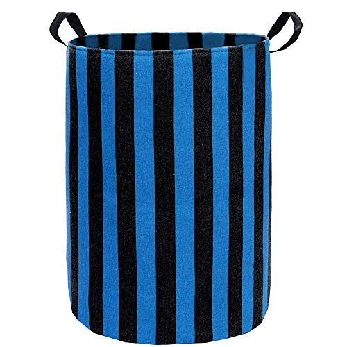 ZUEXT Blue and Black Stripes Canvas Laundry Hamper 197x157 Inch Foldable Storage Bin Basket Dirty Clothes Laundry Basket Waterproof Linen Clothes Basket with Handles for Bedroom Kids Dorm Nursery