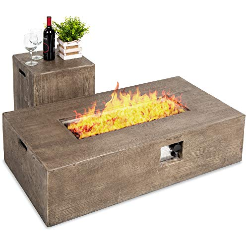 Best Choice Products 48x27-inch 50,000 BTU Outdoor Patio Rustic Farmhouse Wood Finish Propane Fire Pit Table and Gas Tank Storage Side Table w/Weather-Resistant Pit Cover, Glass Rocks - Brown