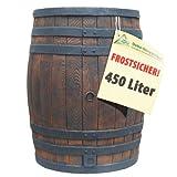 REGENTONNE EICHENFASS 450 Liter WASSERFASS Regenfass WASSERTONNE - FROSTSICHER REGENWASSERTONNE - Gartenfass für Regenwasser u.v.m. in Holz-Optik aus robustem PE-Kunststoff mit Deckel