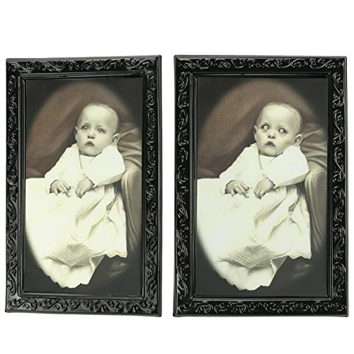 Tinsow Halloween Lenticular 3D Changing Face Moving Picture Frame Theme Party Home Decor Horror Portrait Baby Haunted Spooky Decorations for Halloween