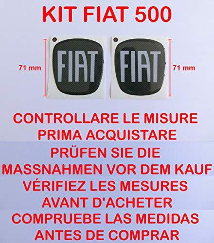 """500 Carbon-Aufkleber-Kit mit Logo/Wappen """"Fiat"""", vorne + hinten, geharzt, Effekt 3D, Aufkleber 3M, für neuen Fiat 500für Motorhaube/Kofferraum"""