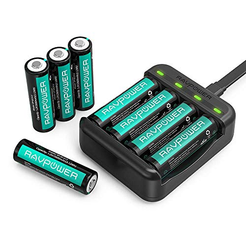 RAVPower Caricatore USB per Batterie AA/AAA, Confezione da 8 Batterie AA Ni-MH Ricaricabili, 2600mAh, 1000 Cicli