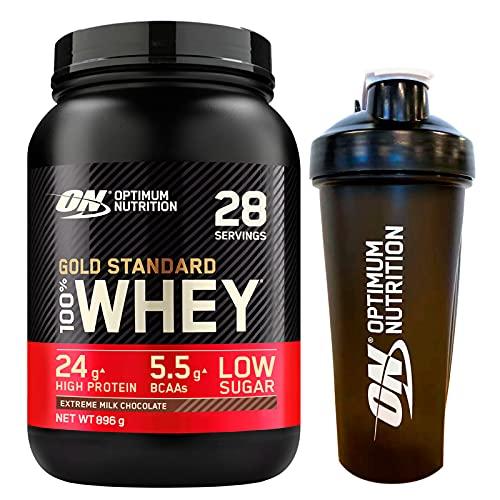 Optimum Nutrition Gold Standard 100% Whey Proteine in Polvere con Proteine Isolate e Aminoacidi per la Massa Muscolare Cioccolato al Latte 896g 28 Porzioni + SHAKER