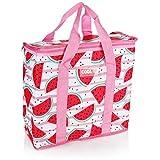 com-four® Cooler Bag: Robusto, refrigerador térmico Plegable, Bolsa con Aislamiento liviano para Acampar y al Aire Libre, Bolsa de Picnic de Verano (01 Piezas - Rosa - Melones - 16l)