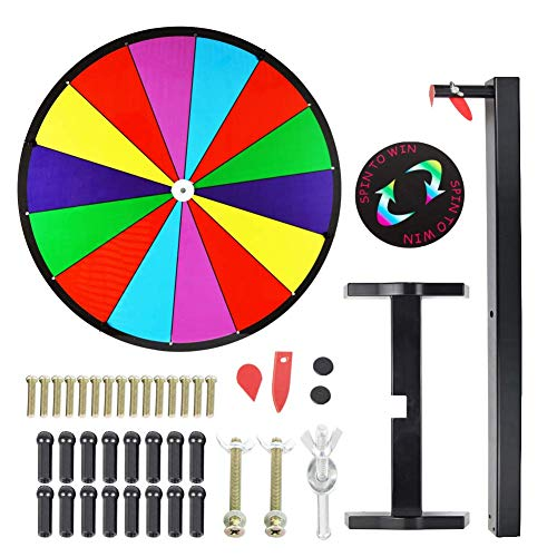 Tabletop Prize Wheel Spinning Win The Fortune Spin Game 14 Slots Color Dry Erase Game Spinner Wheel Easy to Clean (18INCH)