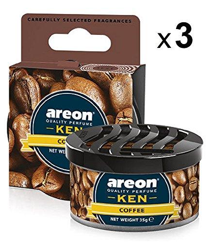 Areon Ken Lufterfrischer Dose Auto Kaffee Autoduft Duft Duftdose Wohnung Erfrischer 3D Set ( Coffee Pack x 3 )