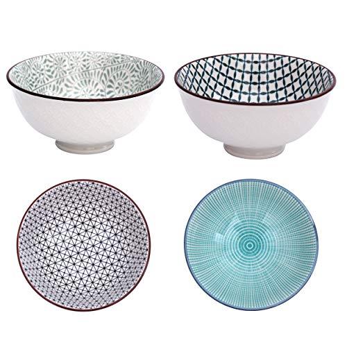 Boho Müslischale 4-er Set aus Porzellan - Müslischüssel im einzigartigen orientalischen Design - edle Geschirr-Schüssel für Müsli, Suppen, Kekse, Salat, Nüsse, Schlüssel - ca. 700 ml (Design 2)