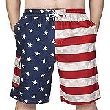 Rejork Men's Swim Trunks Board Shorts with Mesh Lining Cargo Pocket Funny Swimwear Bathing Suits(Funny Flag, X-Large)