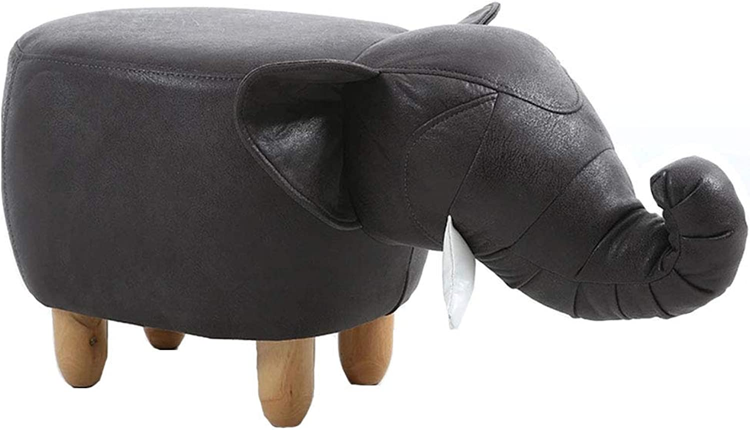 Elephant Footstool, Stool Solid Wood Sofa Stool and Pouffes with Wooden Leg 63 x 36 x 33 cm,black1