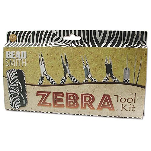 6-Piece Zebra Tool Kit, Jewelry Making Set with Pliers and Tweezers