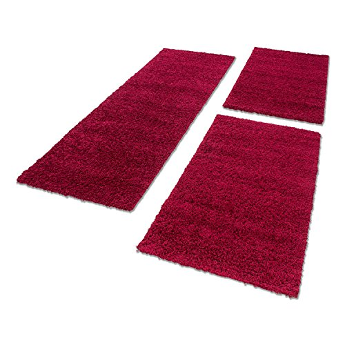Bettumrandung 3.TLG Läufer-Set 50 mm Florhöhe Hochflor Shaggy Carpet ÖKO TEX 4000, Maße:2 x 80x150 / 1 x 60x110;Farbe:Rot 4000