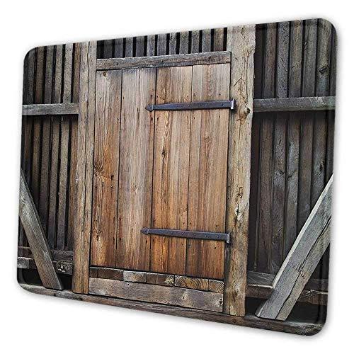 Antike Tastaturpad rustikale antike Holztür Außenfassaden ländliche Scheune Holz verwitterte Anzeige Mauspad für Frauen braun orange