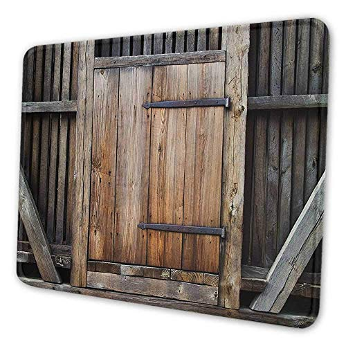 Antike bedruckte Mauspad Rustikale antike Holztür Außenfassaden Ländliche Scheune Holz Verwitterte Anzeige Notebook Computer Mauspad Braun Orange