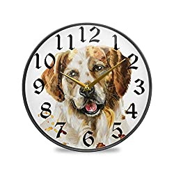 CaTaKu Animal Dog Round Wall Clock Silent Non Ticking, Dirty Dog Desk Clock Battery Operated Quartz Decorative 9.5'' Clock for Living Study Class Room Office Kitchen