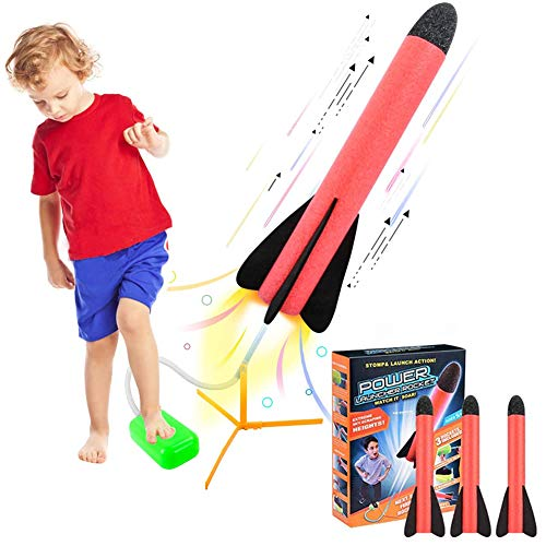 Juguetes para niños Lanzador de cohetes de pedal al aire libre Lanzador de cohetes de juguete,...