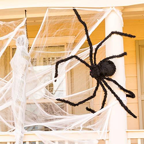 Joyjoz Halloween Ragnatela con Spider Gigante, Ragnatela densa Estensibile di 200 mq per Decorazioni di Halloween all'aperto e al Coperto