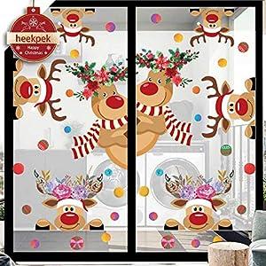 heekpek Pegatinas Navidad Ventanas Pegatinas de Navidad Lindas Pegatina Navidad de Alces con Flores en La Cabeza Reutilizable Pegatinas Decorativas Navidad Pegatina para Escaparate Puerta