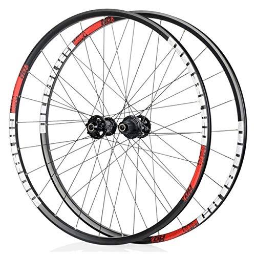 LSRRYD Ciclismo Ruedas 29 Pulgadas Juego de Ruedas Racing Road Bike 700C Llantas de aleación de Doble Pared Freno de Disco 8 9 10 11 Velocidad Liberación rápida Casete 30mm (Color : Red)