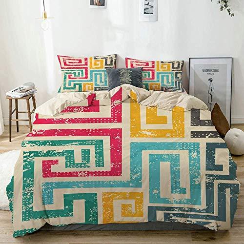 Qoqon Duvet Cover Set Beige,Indie Vintage Spiral Colorful Print,Decorative 3 Piece Bedding Set with 2 Pillow Shams