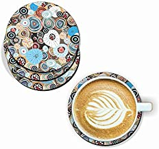 PAPER PLANE DESIGN Handmade Mandala Pattern Wooden Coaster Set for Home Kitchen, Office Desk (Set of 6, 4 inch)