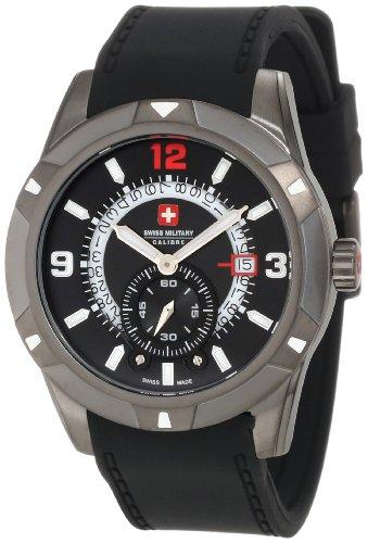 Swiss Military 06-4R5-04-007R - Reloj analógico de Cuarzo para Hombre con Correa de Caucho, Color Negro