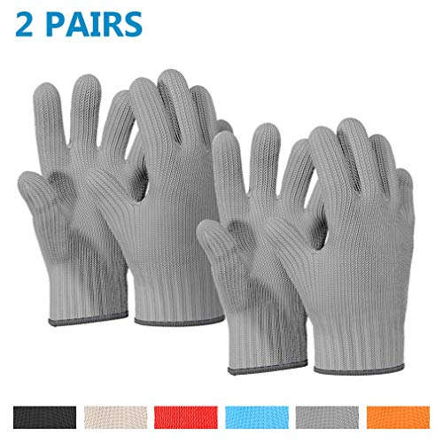 Heat Resistant Oven Gloves with Fingers -1 Pairs Grey Kitchen Oven Mitt Set - Pot Holders Cotton Gloves - Double Oven Kitchen Gloves