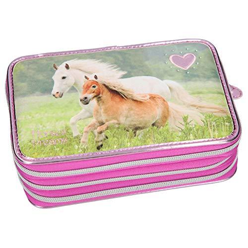 Depesche 10532 Federtasche 3 Fach, Horses Dreams, rosa, bunt