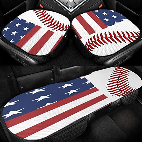 Yuniker America Flag and Leaves Car Ice Cushion Universal Car Seat Protector Soft Cool Bottom Seat Covers 3 Pcs Non-Slip Cushion Mats for Car Truck SUV Van Mpv