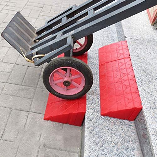 Rampas de Plástico para Bordillos de 16 Cm de Altura - Juego de Rampas de Umbral de Plástico de Alta Resistencia de 1 a 6 Piezas Ligeras para Entrada, Acera, Automóvil, Scooter, Bicicleta, Motocicle