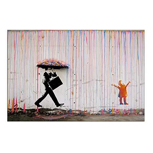 Banksy Art Graffiti Bunten Regen-Drucke Auf Leinwand Moderne Leinwand-Malerei-Wand-Kunst-Plakate Und Drucke For Wohnzimmerdekoration (Color : FB1045, Size (Inch) : 50X70cm No Frame)