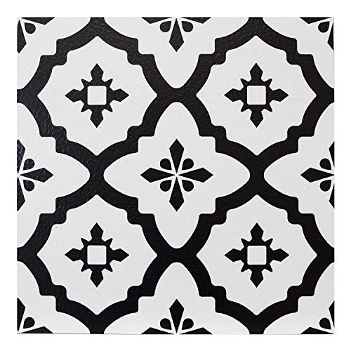 FloorPops Comet - Lote de 10 azulejos de vinilo para suelo, color blanco y negro