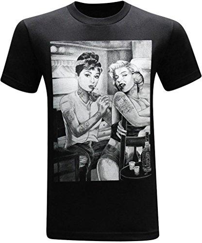 Marilyn Monroe and Audrey Hepburn Tattooed Twins Men's Funny T-Shirt - (Large) - Black