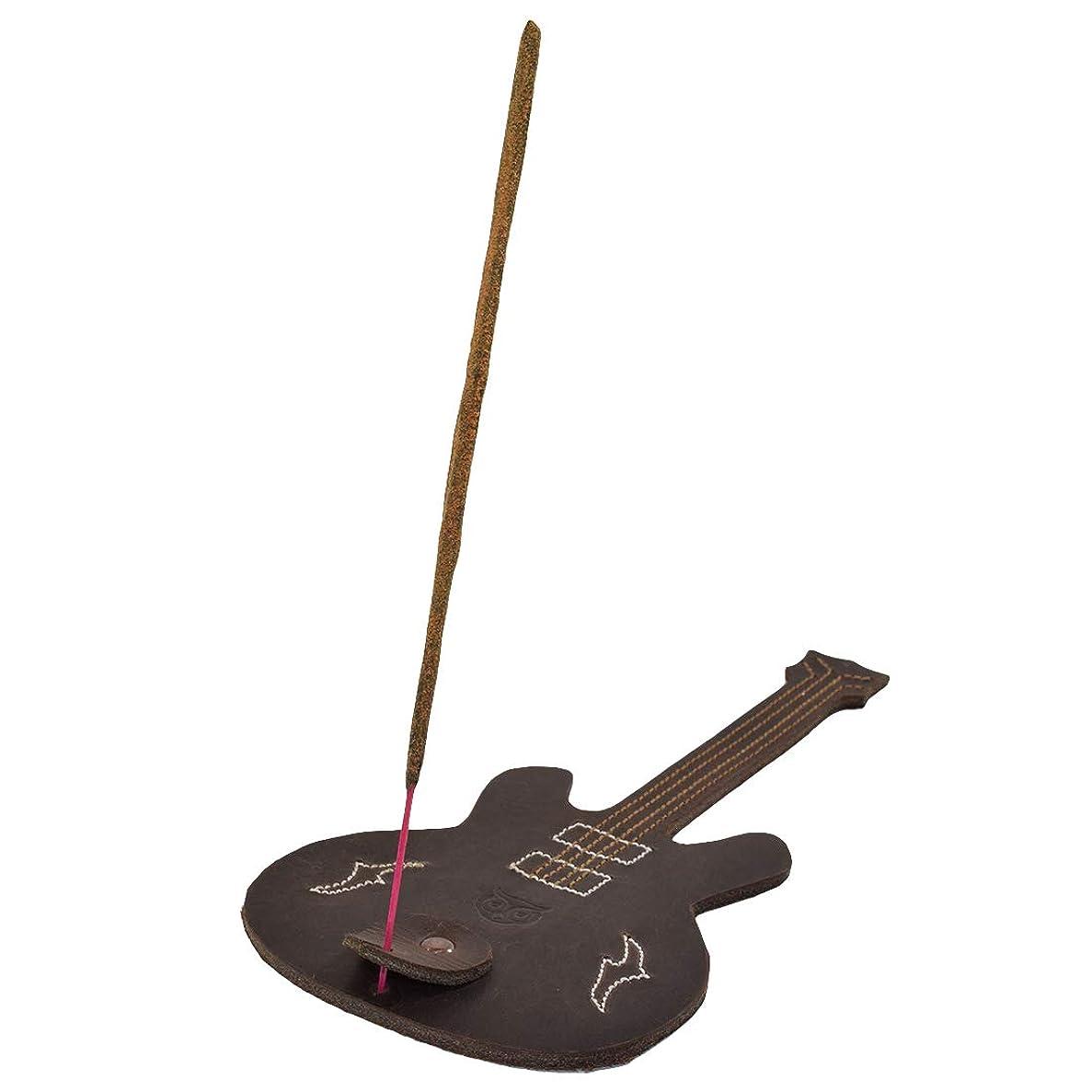 研磨ぴかぴかいつもHide & Drink厚レザーギター形状Incense Burnerスティックホルダーwith Ashキャッチャー手作りでBourbonブラウン