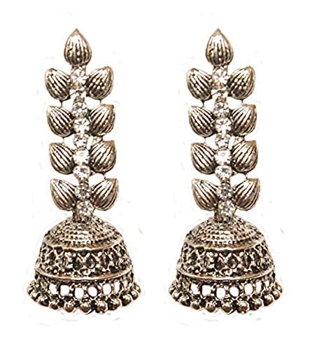 Pahal - Pendientes de plata oxidada con diseño de hojas tradicionales de color blanco