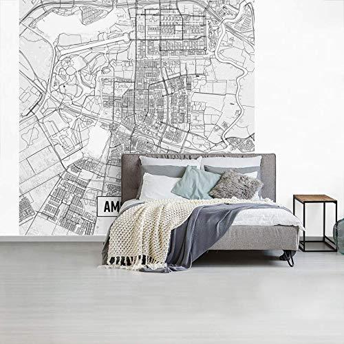 Fotobehang vinyl Top 50 Nederland vierkante uitsneden - Stadskaart Amstelveen - Plattegrond breedte 450 cm x hoogte 450 cm - Foto print op behang (in 7 formaten beschikbaar)