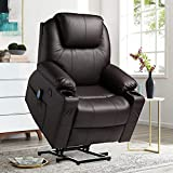 VUYUYU Power Lift Recliner Chair - PU Leather Recliner with Massage and Heat - Electric Recliner for Elderly Ergonomic Lounge Chair with USB Ports, Remote Control, 3 Positions, 2 Side Pockets