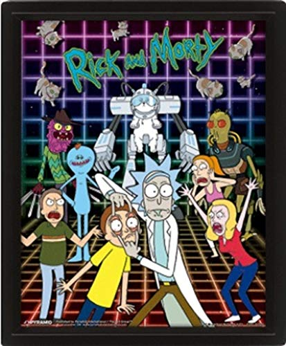 Cartoon Network Rick and Morty (Characters Grid) 10 x 8 Posters Lenticulaires 3D, Multicolore, 10 x 8inch