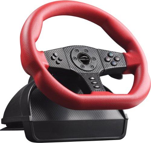 Speedlink Carbon GT Lenkrad für Playstation 3/PS3 und PC (Vibrationsfunktion, vier Schaltwippen, Lenkbereich von 250 Grad) rot schwarz