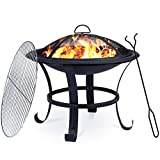 OOX Fire Pit, 22'' Fire Pit Outdoor Wood Burning Steel BBQ Grill Firepit Bowl with Mesh Spark Screen Over Log Grate Wood Fire Poker for Outdoor