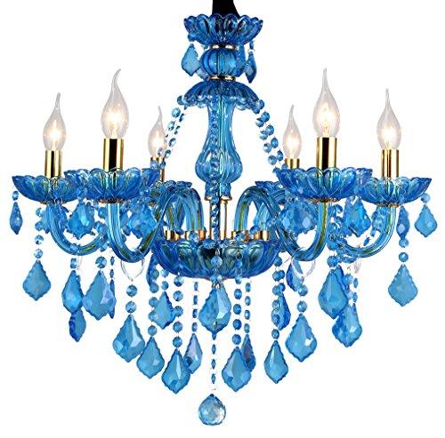 Sala da Pranzo Lampada da Soffitto Lampadario a Candela Di Cristallo Blu Vetro Plafoniera Camera da Letto Luce Pendente Soggiorno Lampada 6 Luci