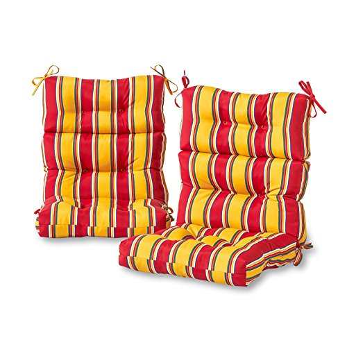 Greendale Home Fashions Outdoor High Back Chair Cushion (set of 2), Carnival