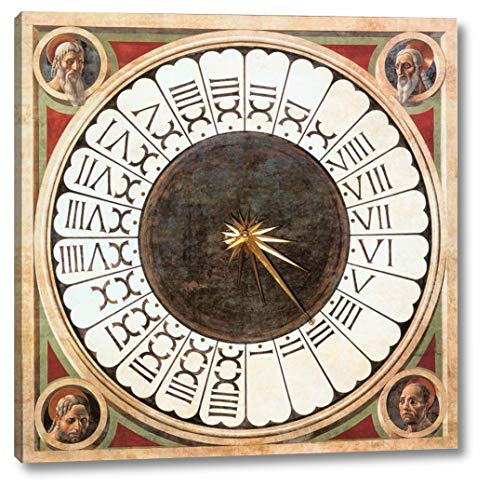 "Clock with Heads of Prophets by Paolo Uccello - 12"" x 12"" Gallery Wrap Canvas Art Print - Ready to Hang"