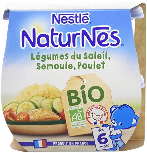 NESTLE NATURNES BIO Petits Pots Bébé Légumes du soleil Semoule Poulet - Dès 6 mois - 2x190g - Pack de 8 ( 16 Pots )