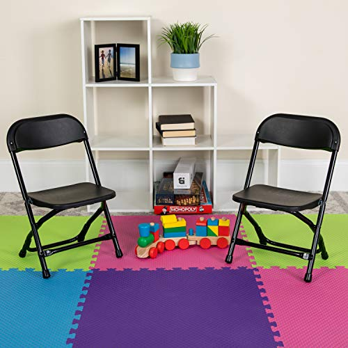 EMMA + OLIVER 2 Pack Kids Black Plastic Folding Chair