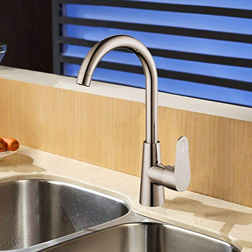 Xcel Home HB 1717 HB1717 Moderno rubinetto da cucina cromato monoblocco lavello a collo di cigno montato a leva singola girevole in ottone massiccio, argento