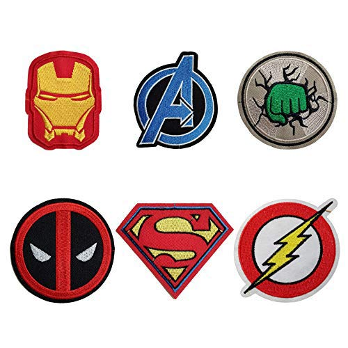 6 Pieces Cartoon Iron Man Hulk Superman The Flash Logo Iron On Sew On Embroidered Patch for Jackets Backpacks Jeans and Clothes Badge Applique Sign Motif Decal