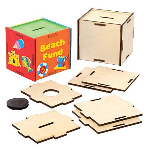 Baker Ross Huchas de Madera Para Decorar AX105 (paquete de 3) suministros creativos de arte y manualidades para niños, surtidos