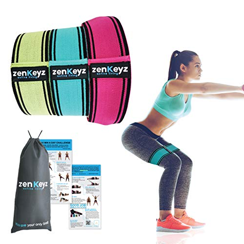 NEW Fabric Booty Resistance Hip Bands for Workout - Resistance Loop Bands - 3 Glute Elastic Bands - Booty Bands for Warm-up and Squats - Exercise Bands for Working Out - 10 min/Day Workout Challenge